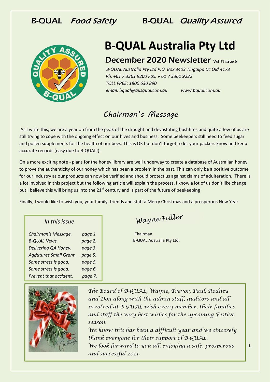 BQUAL December 2020 Newsletter